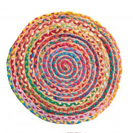 Multi Coloured Braided Rug - Small