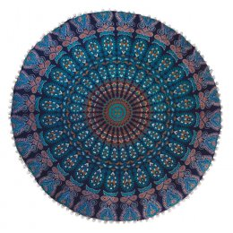 Peacock Print Floor Cushion - Turquoise