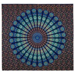 Peacock Print Throw - Turquoise