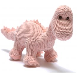 Cotton Knitted Diplodocus Rattle - Pastel Pink