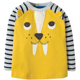 Frugi Happy Raglan Top - Sabre Tooth