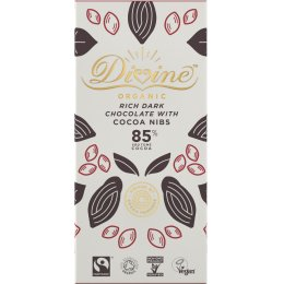 Divine Organic 85 percent  Dark Chocolate with Cocoa Nibs - 80g
