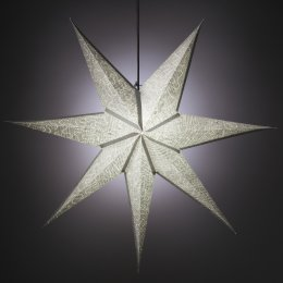7 Point Silver Crinkle Design Star Hanging Decoration