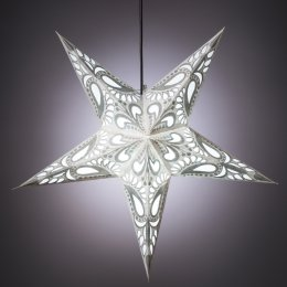 5 Point White & Silver Star Hanging Decoration