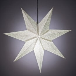 Mini 7 Point Silver Crinkle Design Star Hanging Decoration