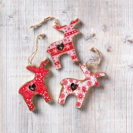 Reindeer with Bell Hanging Decorations - Set of 3