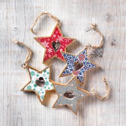 Star with Bell Hanging Decorations - Set of 4