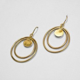Made Brass Layered Oval Drop Earrings