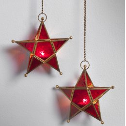 Hanging Red Glass Star Tealight