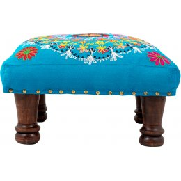 Crazy Daisy Embroidered Footstool