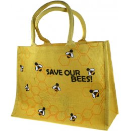 Large Jute Shopping Bag - Save Our Bees