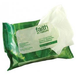 Faith in Nature 3-in-1 Face Wipes - Pack Of 25