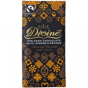 Divine 70% Dark Chocolate with Orange & Ginger - 100g