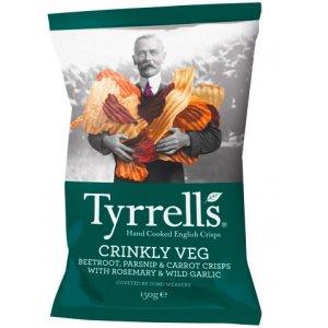 Tyrrells Crinkly Veg Beetroot, Parsnip & Carrot Crisps - 150g