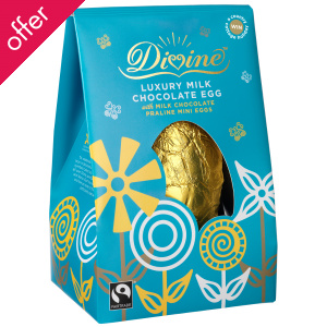 Divine Luxury Milk Chocolate Easter Egg with Mini Praline Eggs