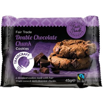 Traidcraft Fairtrade Double Chocolate Chunk Cookies 45g