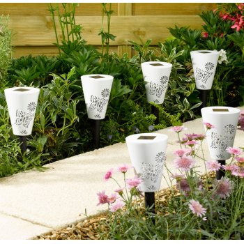 Silhouette Butterfly Solar Stake Lights - 6 Lights