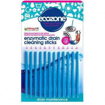 Ecozone Enzymatic Drain Cleaning Sticks - Pack of 12