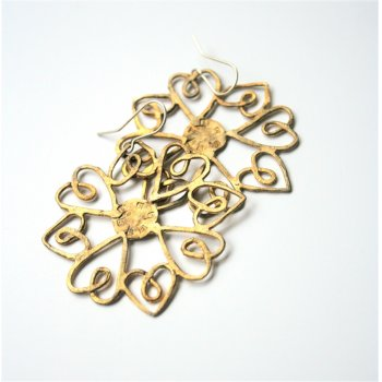 La Jewellery Brass Heartflake Earrings