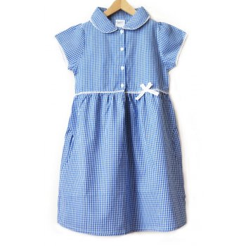 Girls Gingham Checked Summer School Dress - Blue - Junior