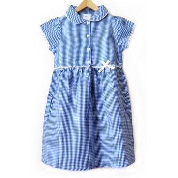 Girls Gingham Checked Summer School Dress - Blue - Infant