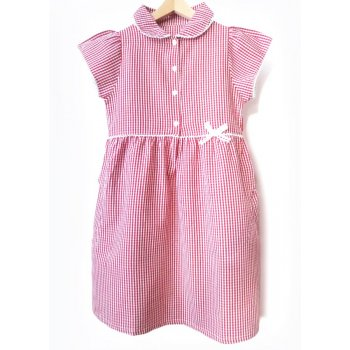 Girls Gingham Checked Summer School Dress - Red - Junior