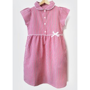Girls Gingham Checked Summer School Dress - Red - Infant