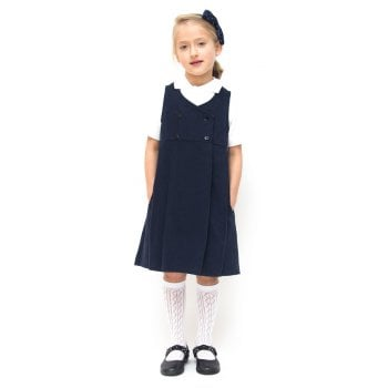Girls Double Breasted Classic School Pinafore - Navy Blue - Infant