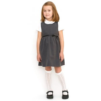 Girls School Pinafore With Bow - Grey - Junior
