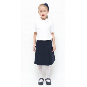 Girls Drop Waist Pleated School Skirt With Adjustable Waist - Navy - Junior