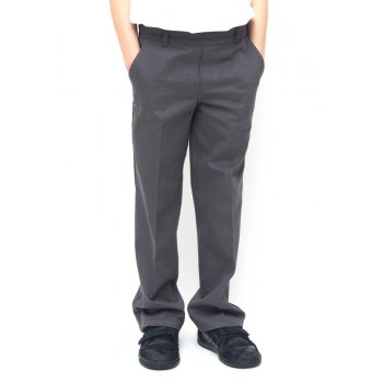 Boys Classic Fit School Trousers With Adjustable Waist - Grey - 11yrs