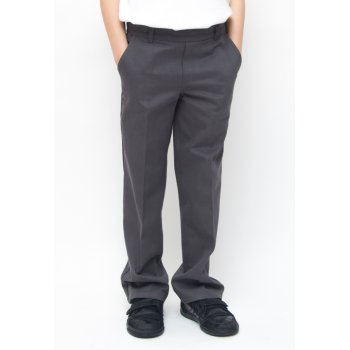 Boys Classic Fit School Trousers With Adjustable Waist - Grey - 5yrs