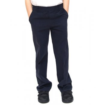 Boys Classic Fit School Trousers With Adjustable Waist - Navy - 11yrs