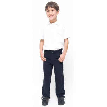 Boys Slim Fit School Trousers With Adjustable Waist - Navy - Junior