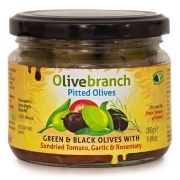 Olive Branch Green & Black Pitted Olives With Sundried Tomato, Garlic & Rosemary - 280g