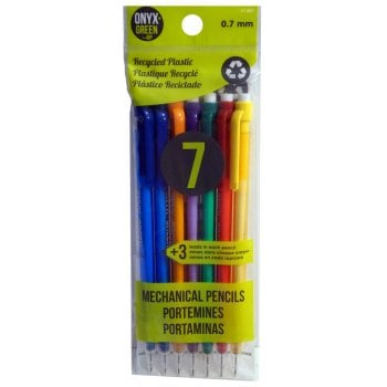 Recycled Plastic 0.7mm Mechanical Pencils - 7 Pack - Assorted Colours