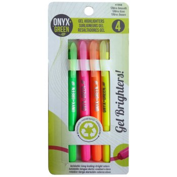 Recycled Gel Highlighters - 4 Pack - Assorted Bright Colours