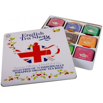 English Tea Shop Organic and Fairtrade Tea Union Jack Gift Tin - 72 Bags - Sachets