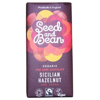 Seed and Bean Organic Fine Dark Chocolate Bar - Hazelnut - 85g
