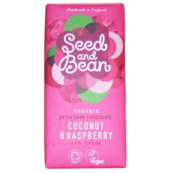 Seed and Bean Organic Extra Dark Chocolate Bar - Coconut & Raspberry - 85g