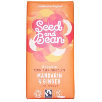 Seed and Bean Organic Extra Dark Chocolate Bar - Mandarin & Ginger - 85g