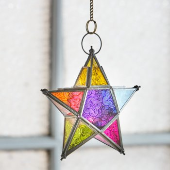 Small Hanging Multi-Coloured Glass Star Lantern