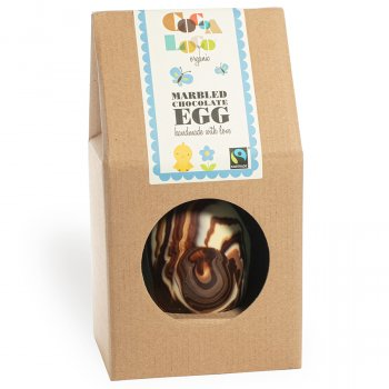 Cocoa Loco Thick Marble Easter Egg With Chocolate Buttons - 225g