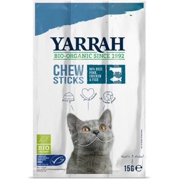 Yarrah Organic Fish Chewsticks With Seaweed & Spirulina For Cats 15g