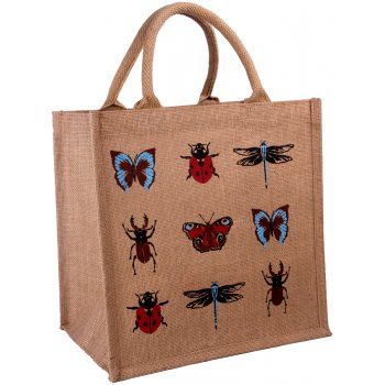Jute Shopping Bag - Insect Print