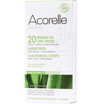 Acorelle Ready to use Strips - Underarms and Bikini - Aloe Vera & Beeswax - 20 strips
