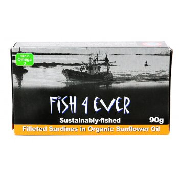 Fish 4 Ever Sardine Fillets in Organic Sunflower Oil - 90g