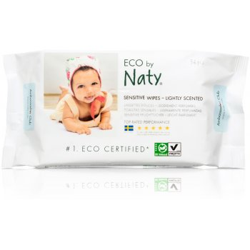 Eco by Naty Lightly Scented Sensitive Wipes - Pack Of 56