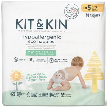 Kit & Kin Disposable Nappies - Junior Size 5 - Pack of 30