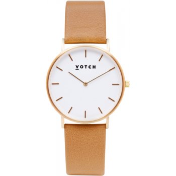 Votch Classic Collection Vegan Leather Watch - Tan & Gold